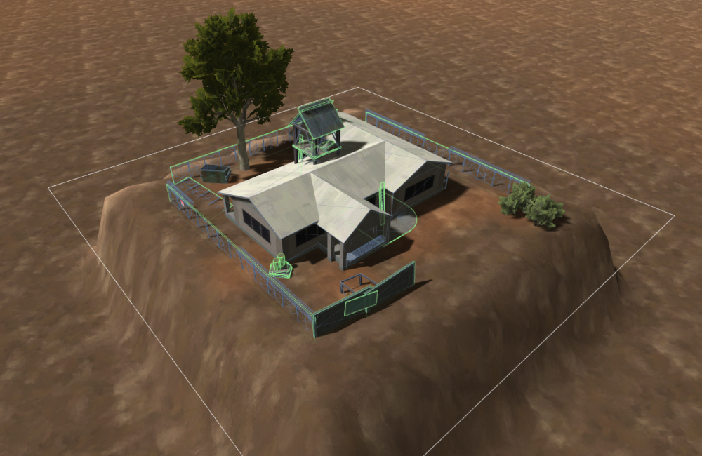 This outpost structure dynamically raises the terrain and places some trees.